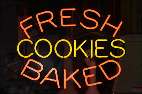 One of Signarama's LED signs for fresh baked cookies.