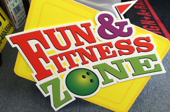 Example of interior signs for Fun & Fitness Zone.
