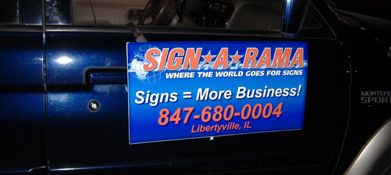 One of the magnetic signs for a car for Signarama.